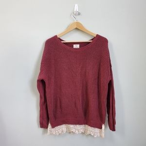 UO Pins & Needles Lace Trim Sweater